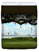 Tampa Skyline Through Old Oak Duvet Cover