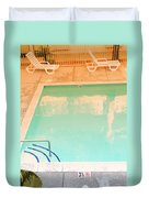 Tandem By The Pool Duvet Cover