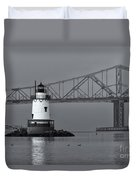 Tarrytown Lighthouse And Tappan Zee Bridge Viii Duvet Cover by Clarence Holmes