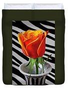 Tea Rose In Striped Vase Duvet Cover