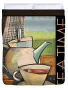 Tea Time Poster Duvet Cover