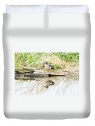 Teal Duck Standing On A Log Duvet Cover