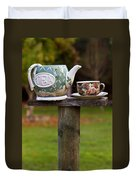 Teapot And Tea Cup On Old Post Duvet Cover