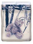 Teddy In Snow Duvet Cover