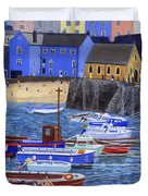Painting Tenby Harbour With Boats Duvet Cover