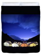 Tents Illuminated In A Valley At Night Duvet Cover