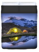 Tents Lit By Flashlight On Cascade Duvet Cover