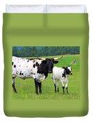 Texas Longhorn Cow And Calf Duvet Cover by Karon Melillo DeVega