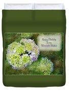 Textured Hydrangeas Birthday Mother Greeting Card Duvet Cover