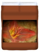 Textured Red Daylily Duvet Cover
