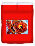 Textured Red Fish Duvet Cover