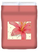 Thank You Card - Pink Lily Duvet Cover