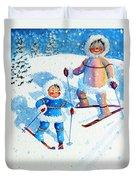 The Aerial Skier - 6 Duvet Cover by Hanne Lore Koehler