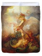 The Angel Binding Satan Duvet Cover by Philip James de Loutherbourg