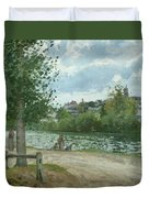 The Banks Of The Oise At Pontoise Duvet Cover