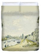 The Banks Of The Seine At Bougival Duvet Cover