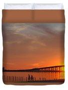 The Biloxi Bay Bridge At Sunset Duvet Cover