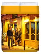 The Bistro At Night Duvet Cover