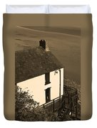 The Boathouse At Laugharne Sepia Duvet Cover