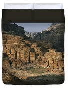 The Caves And Tombs Of Petra, Shown Duvet Cover