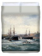 The Channel Fleet Off Scarborough Duvet Cover