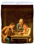 The Checker Players Duvet Cover by George Caleb Bingham
