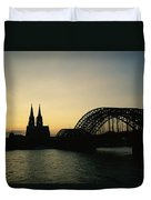 The Cologne Cathedral And Hohenzollern Duvet Cover