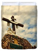 The Cross In The Grotto In Iowa Duvet Cover