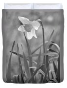 The Daffodil In Black-and-white Duvet Cover
