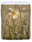 The Daffodil In Partial Sepia Duvet Cover