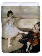 The Dance Lesson Duvet Cover by Edgar Degas