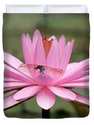 The Dragonfly And The Pink Water Lily Duvet Cover