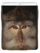 The Face Of A Long-tailed Macaque Duvet Cover