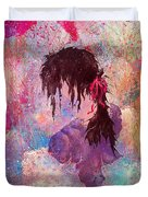 The Girl Of Many Colors Duvet Cover