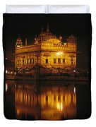The Golden Temple Is Reflected Duvet Cover