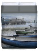 The Green Canoe Duvet Cover by Debra and Dave Vanderlaan