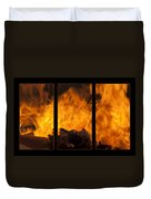The Home Fires Are Burning Triptych Duvet Cover