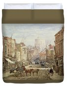 The Household Cavalry In Peascod Street Windsor Duvet Cover by Louise J Rayner