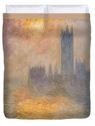 The Houses Of Parliament At Sunset Duvet Cover by Claude Monet
