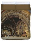 The Interior Of The Lower Basilica Of St. Francis Of Assisi Duvet Cover by Thomas Hartley Cromek