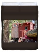 The Little Red Caboose Duvet Cover