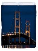 The Mackinaw Bridge At Night By The Straits Of Mackinac Duvet Cover