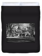 The Mall At Central Park In Black And White Duvet Cover