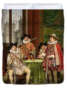 The Musketeer's Tale Duvet Cover by Adolphe Alexandre Lesrel
