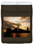 The New York City Skyline At Sunset Duvet Cover by Vivienne Gucwa
