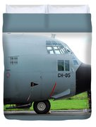 The Nose Of A Hercules C-130 Airplane Duvet Cover by Luc De Jaeger