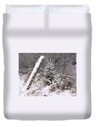 The Old Fence - Snowy Evergreen Duvet Cover