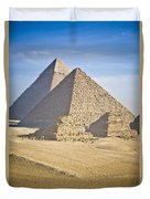 The Pyramids With Two Men On Camels Duvet Cover