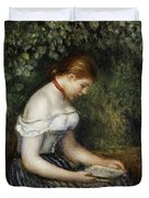 The Reader A Seated Young Girl  Duvet Cover by Pierre Auguste Renoir