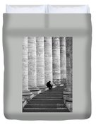 The Reader Amidst The Columns Bw Duvet Cover